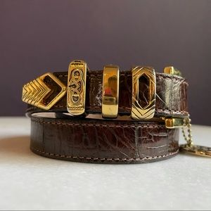 Streets Ahead Leather Belt Gold Tone Hardware